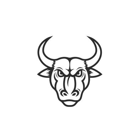 angry bull black line  icon vector illustration design template