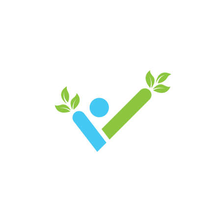 check mark or healthy life people  icon vector illustration concept  design template