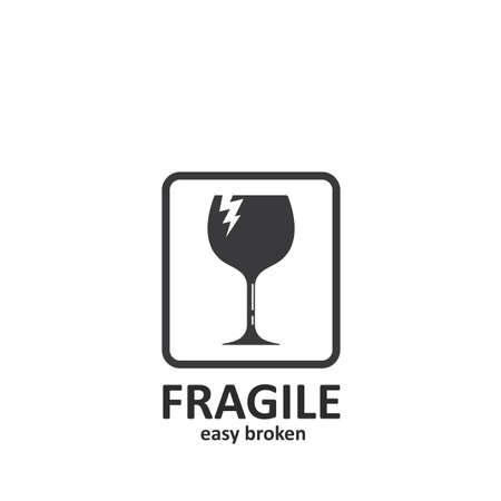 fragile sign  icon vector illustration design template web