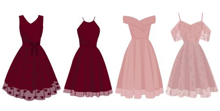 Illustrations Vectors Graphic of Dresses for Charming Red and Pink Parties