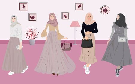 Vector Illustration of Muslim Women's Fashion and Accessories Suitable for Wearing Out of The House
