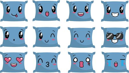 Vector illustration of cute blue pillow character with various expressions suitable for relaxing