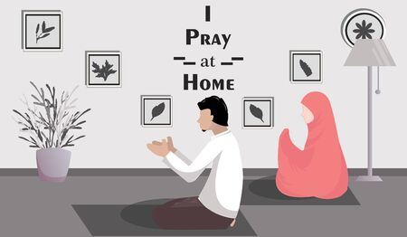 Vector illustration of Muslim Family worshiping Ramadan at home during the Corona Outbreak to maintain health Illustration