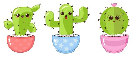 Illustrations Vectors Graphic of Prickly Cactus with Funny Expressions in Colorful Pots Ilustrace