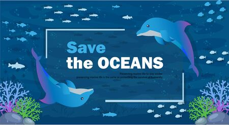 Vector Illustration World Sea Day Saves the Ocean with All Living Things in It