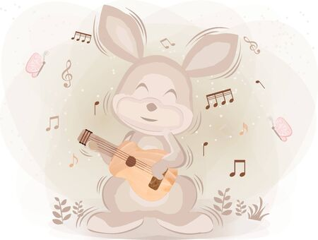 Watercolor Rabbit Plays the Guitar Happily