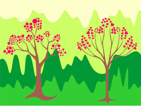 illustration of two-leaved trees in a beautiful heart