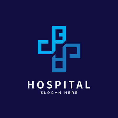 Hospital logo with initial letter logo designs concept. Medical health-care logo designs template