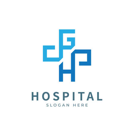 Hospital logo with initial letter logo designs concept. Medical health-care logo designs template.