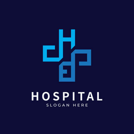 Hospital logo with initial letter designs concept. Medical health-care logo designs template.