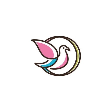 Vector logo of birds icon line art picture Illustration