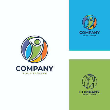 pleasant human vector logo template Illustration