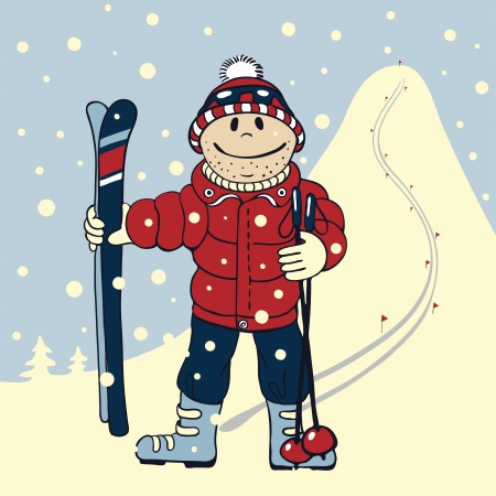 Illustration in cartoon style   skier standing on the background of high mountains Vector