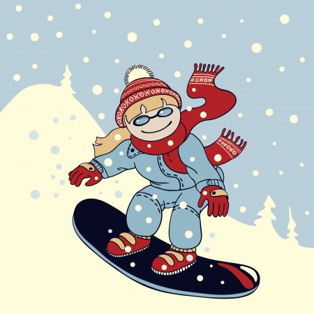 Illustration in cartoon style   girl snowboarder rides down the mountain