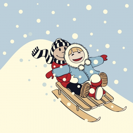 Ilustración de dibujos animados de estilo chico y una chica se va a deslizarse en un trineo en un día de nieve Foto de archivo - 15957477