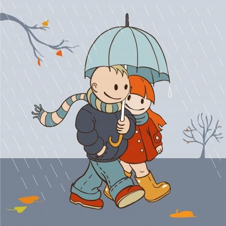 enamorados caricatura: Ilustración de dibujos animados de los amantes del estilo del otoño lluvioso día caminando bajo un paraguas