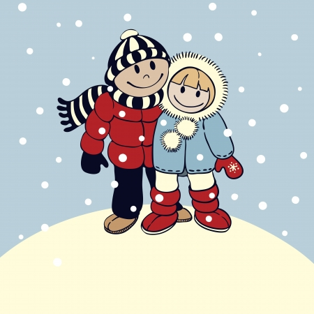 Illustration in cartoon style   boy and girl standing on top of a mountain on a snowy day Illustration