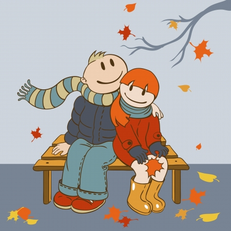 jovenes enamorados: Ilustración de estilo de dibujos animados amante pareja sentada en un banco y contemplar las hojas que caen Vectores