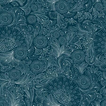 pluma de pavo real: Patrón sin fisuras con líneas estilizadas de hojas, flores, plumas y pavos reales