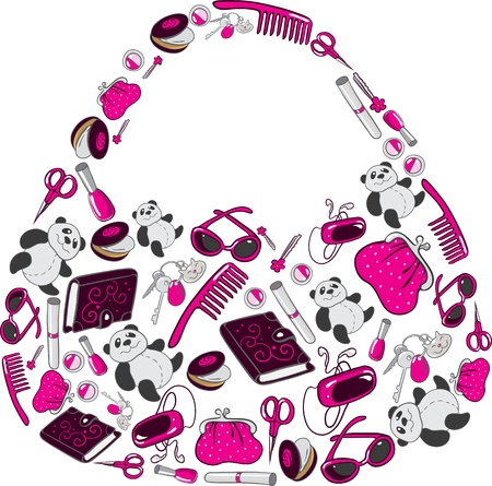 Women s handbag made up of many individual objects Illustration