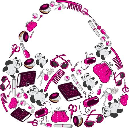 Women s handbag made up of many individual objects Illustration