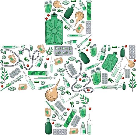 einlauf: Apothekenkreuz aus den einzelnen Elementen Illustration