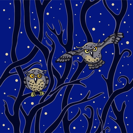 Seamless pattern  owls in the night forest Illustration