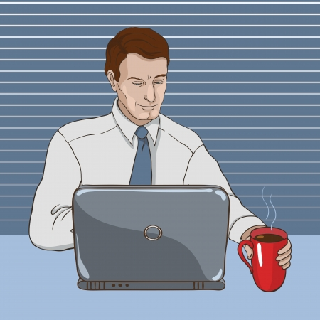 business man in an office looking at a laptop and drinking coffee