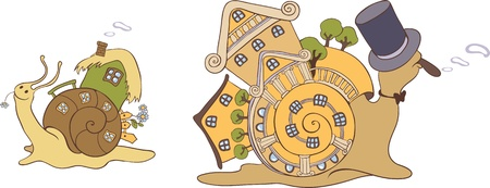 Two snails with their mobile homes Vector
