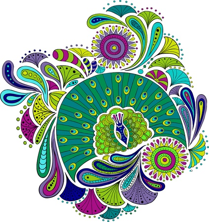 peacock pattern: Disigne element with stylized outlines of leaves, flowers, feathers and peacocks