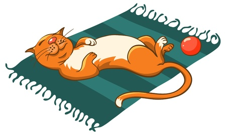 happy ginger cat sleeping on a mat