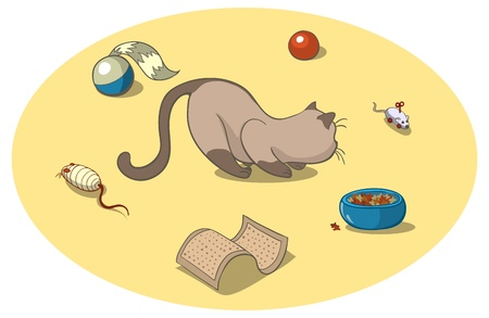 Playful cat surrounded by cat toys Illustration