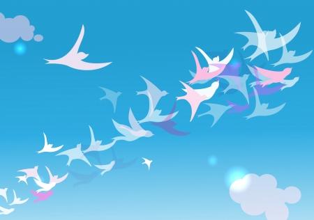 bandada pajaros: Fondo simple con pájaros volando