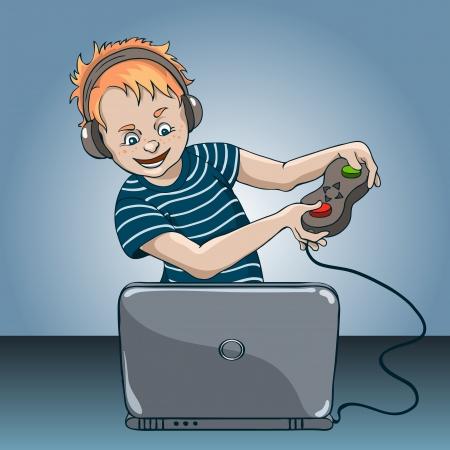 Chłopak entuzjastycznie gry komputera na laptopa