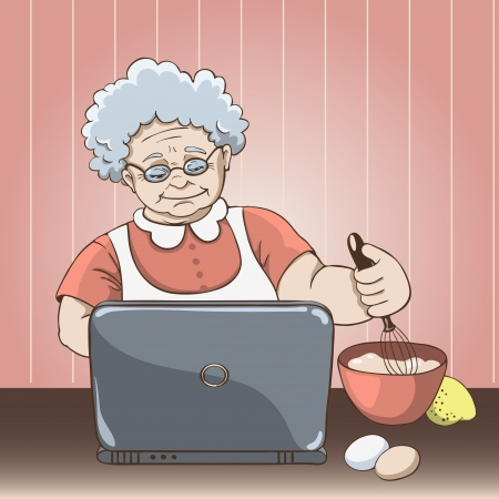 Granny front of a laptop looking for a recipe on the Internet