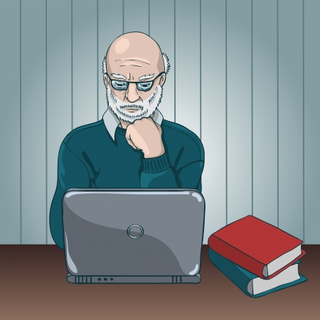 Scientist working at a laptop Stock Vector - 16084762
