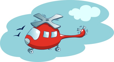 Illustration in a cartoon style  helicopter in the sky Illustration