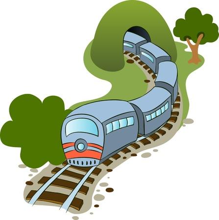tren caricatura: Ilustración de un tren de estilo de dibujos animados