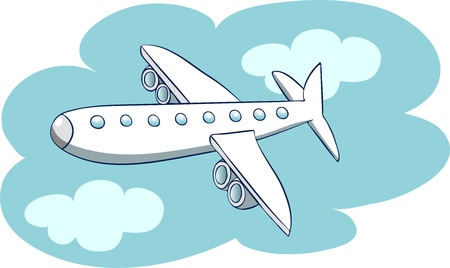 Illustration in a cartoon style  aircraft in the sky