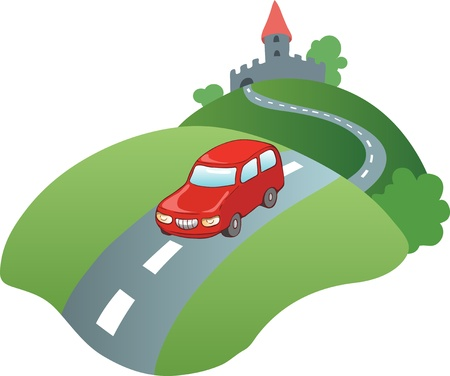 the road surface: Illustration in a cartoon style  red car