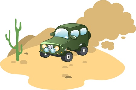 Illustration in a cartoon style  car safari Illustration