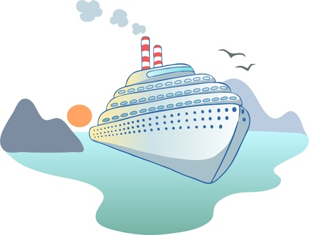 Illustration in a cartoon style   ocean liner Stock Vector - 16167030