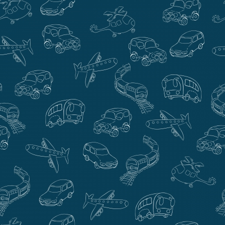 Seamless background in a cartoon style  transport Stock Vector - 16167029