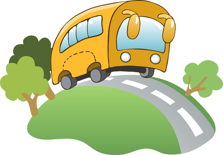 Illustration in a cartoon style  yellow bus Vector