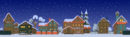 winter scene: Street of small christmas houses in a cartoon style