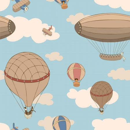 ballooning: Retro background with the Aircraft