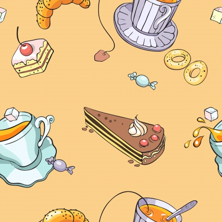 manjar: patrón con una taza de té y dulces