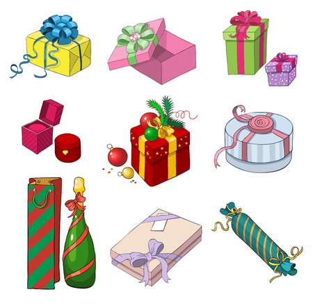 Set of colorful gift packages of different shapes in cartoon stylelorful gift packages of different shapes in cartoon style Stock Vector - 16536950