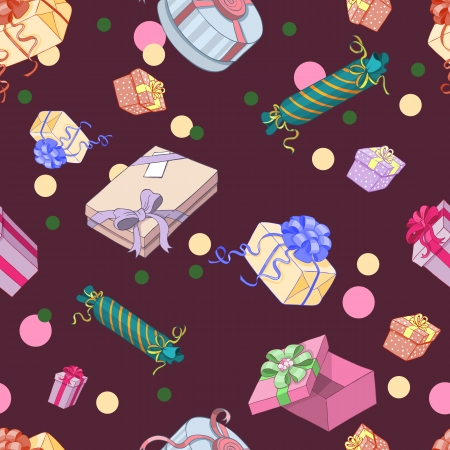 Seamless pattern with gift packages in a cartoon style Stock Vector - 16536952