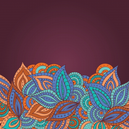 Floral background with stylized outlines of leaves and flowers
